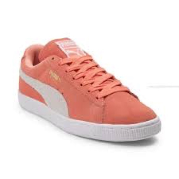 c3bbcd69e8 Pumas™️ Womens' Suede Peach and White Sneakers